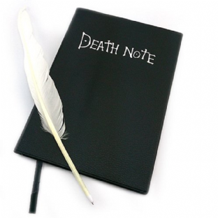 Death Note Anime Notebook, Feather Pen and L Logo Necklace Set